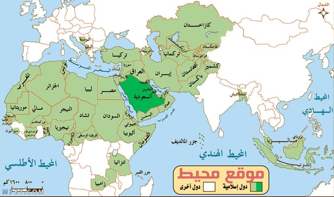 خريطة الوطن العربي والعالم للدول الاسلامية