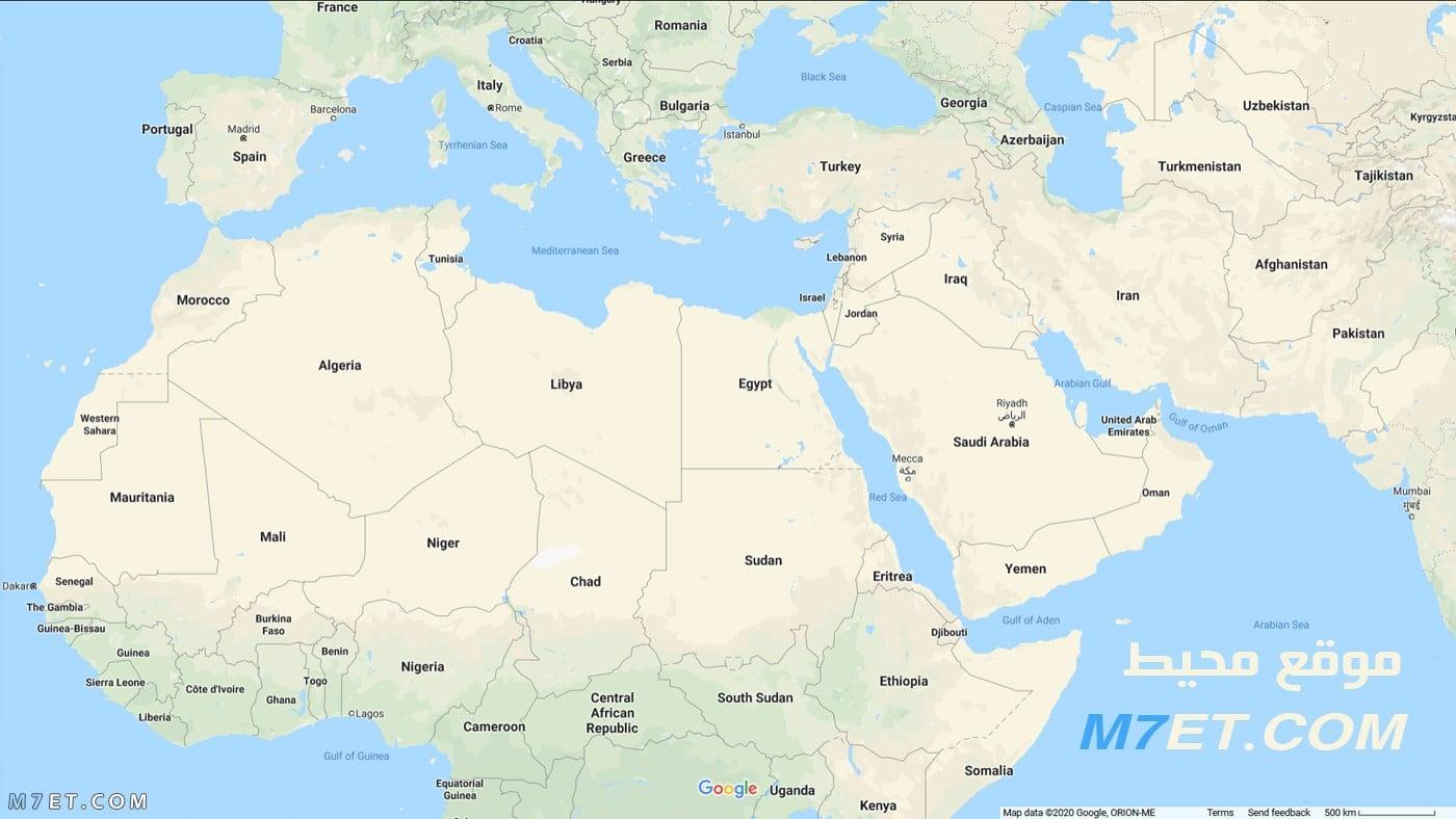 خريطة الوطن العربي الحقيقية بالانجليزي