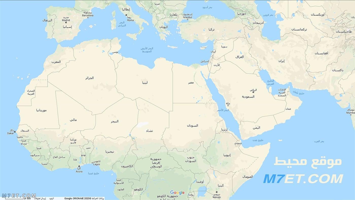 خريطة الوطن العربي الحقيقية بالعربي