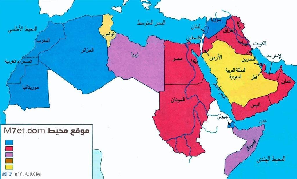 خريطة الوطن العربي ملونة