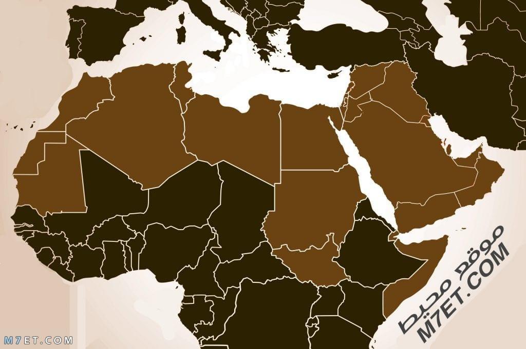 خريطة الوطن العربي صماء ملونة