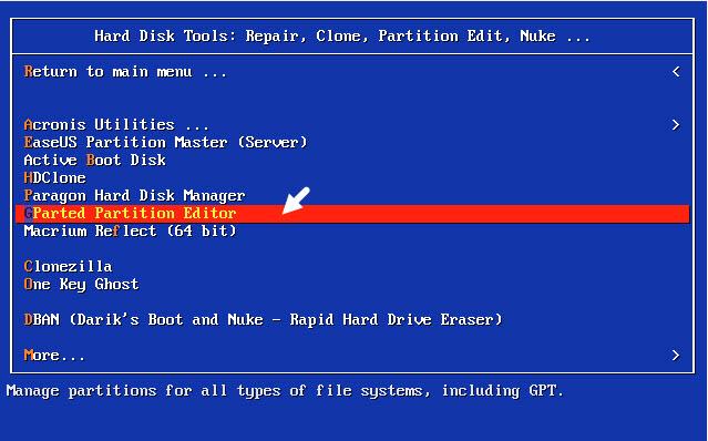 برنامج Gparted Partition editor