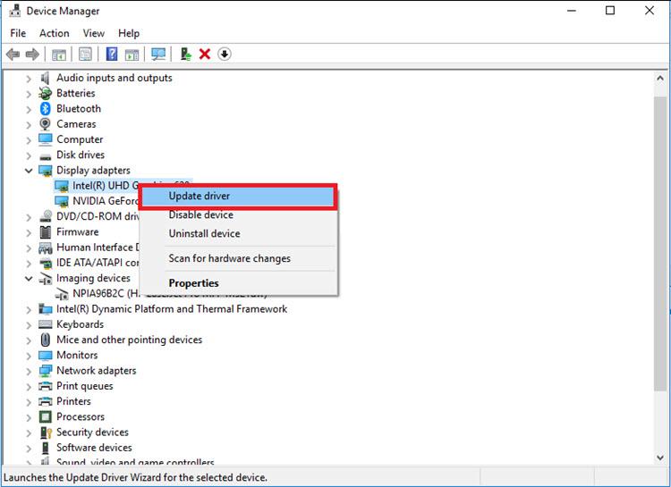 تحديث كارت الشاشة من إدارة الأجهزة
