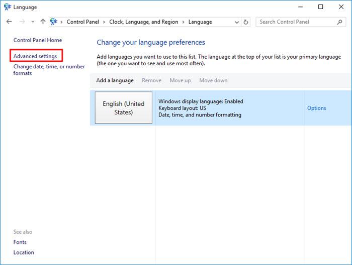 لوحة التحكم - خيارات اللغة المتقدمة